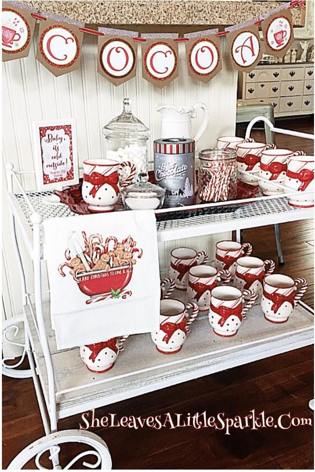 my hot cocoa bar red and white hot chocolate bar