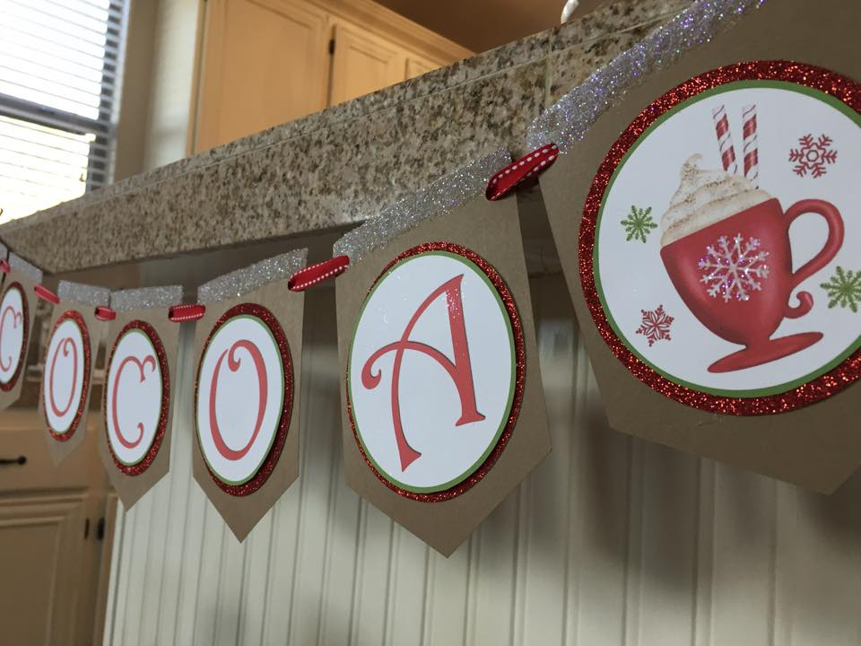 my hot cocoa bar hot chocolate bar station red and white striped candy cane christmas cocoa DIY hot cocoa banner