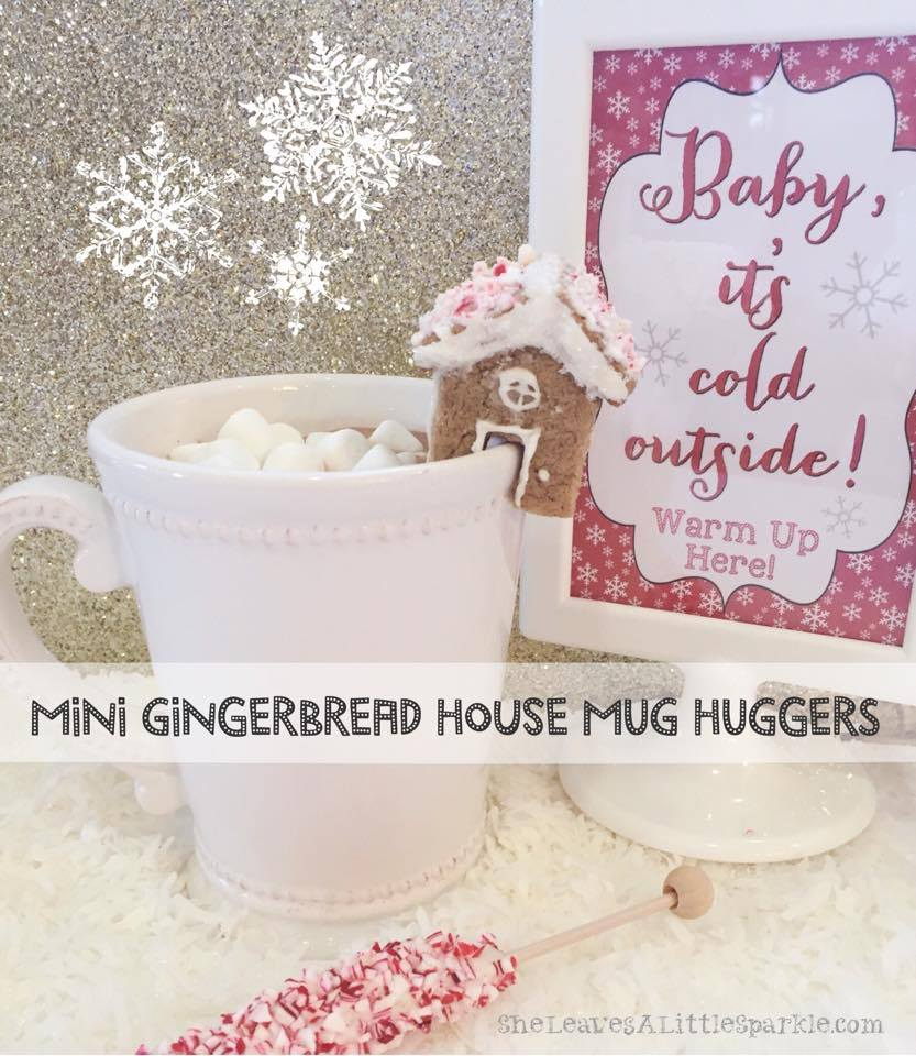 Mini gingerbread house mug huggers