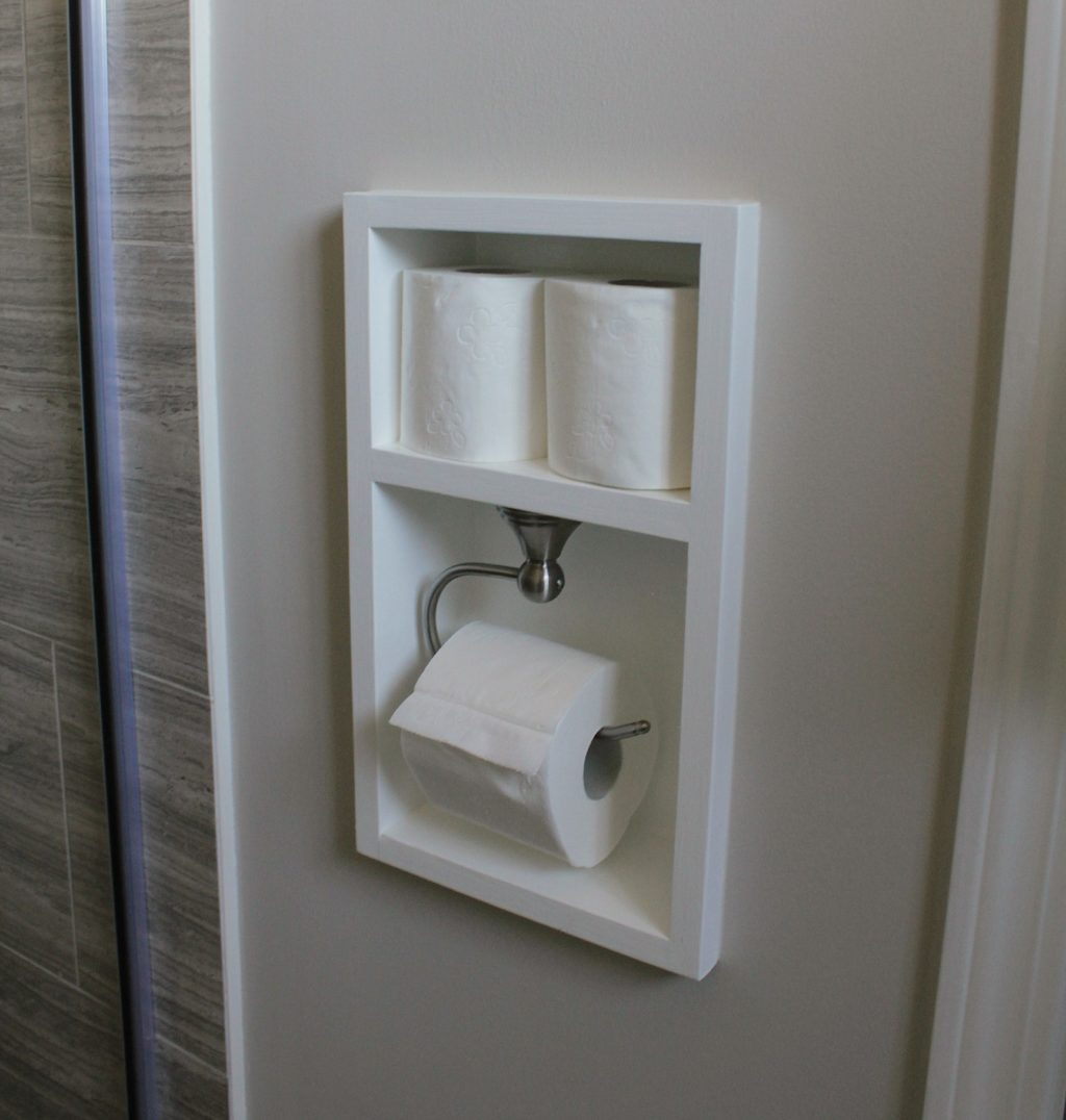 Built in toilet paper roll bathroom renovation