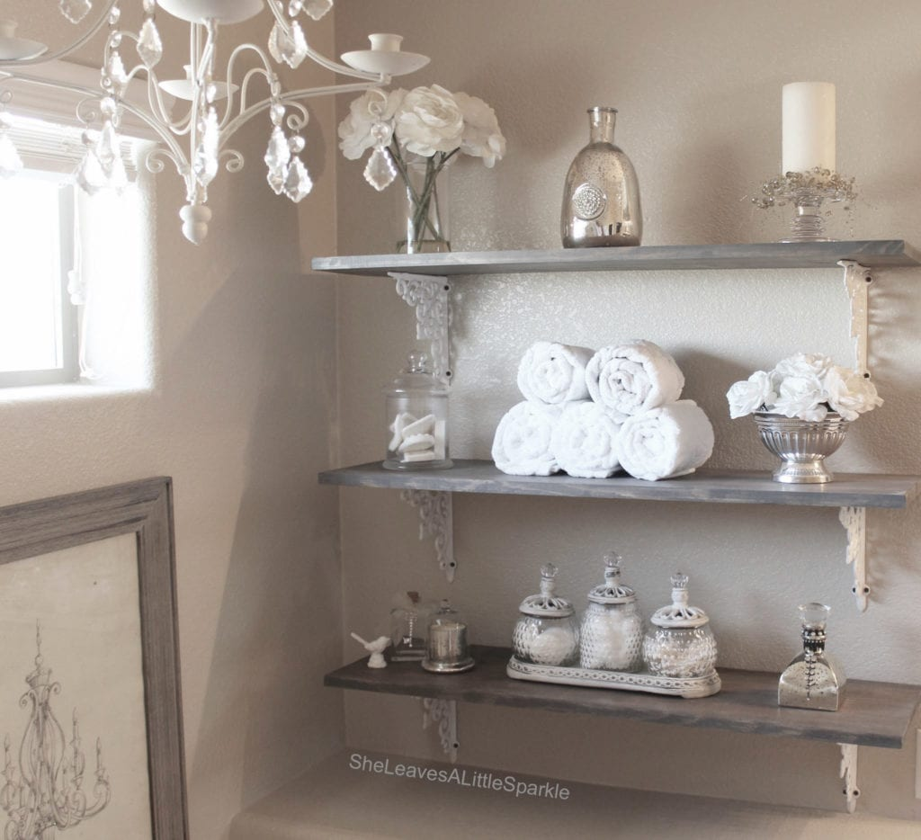 advice for my daughter Bathroom Open Shelving Rustic Glam