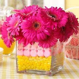 Peeps flower centerpiece easter tablescape