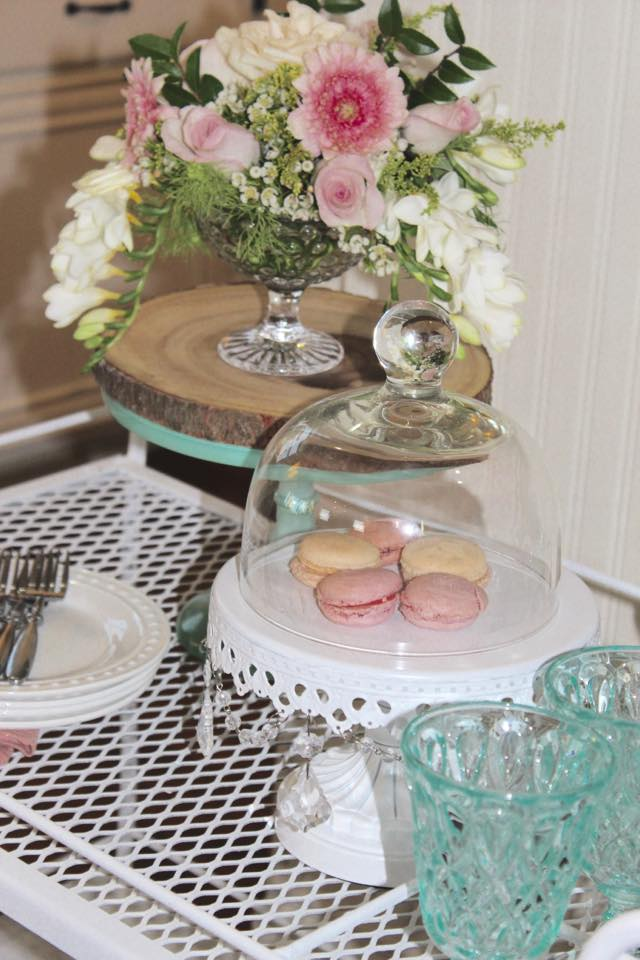 vintage tea cart spring flowers macarons entertaining