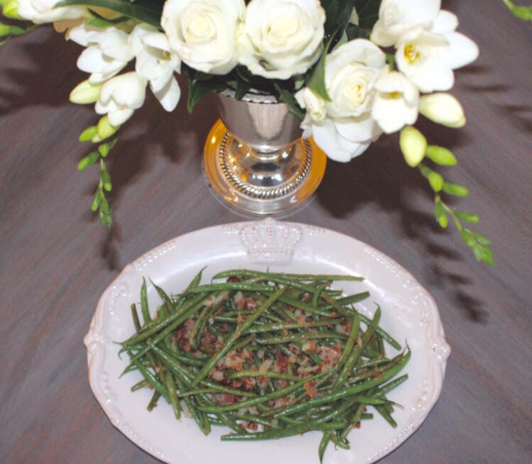 green bean dish spring tablescape decor