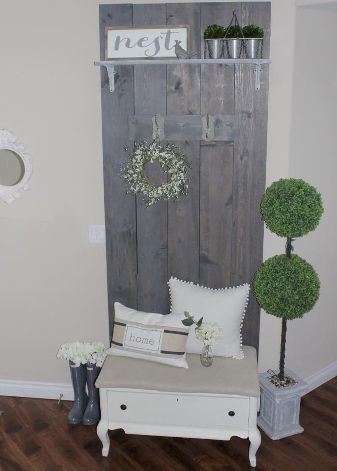 diy hall tree reclaimed wood front entry way blogger home spring tour