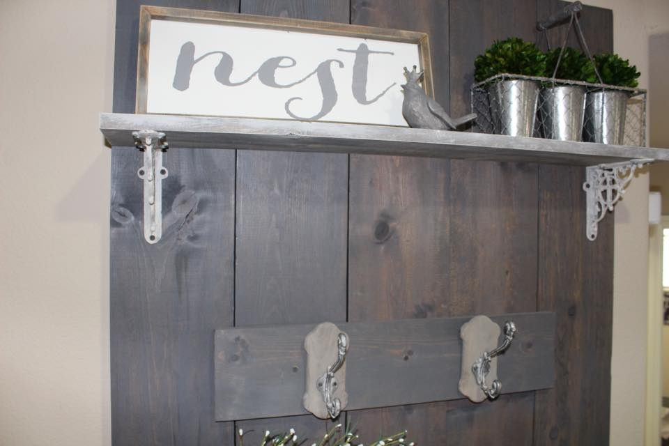 nest sign entry way rustic farmhouse style blogger spring home tour diy hall tree hand lettering calligraphy sign