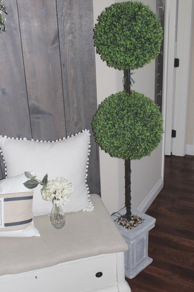 large boxwood topiary diy hall tree entry way spring home blogger tour