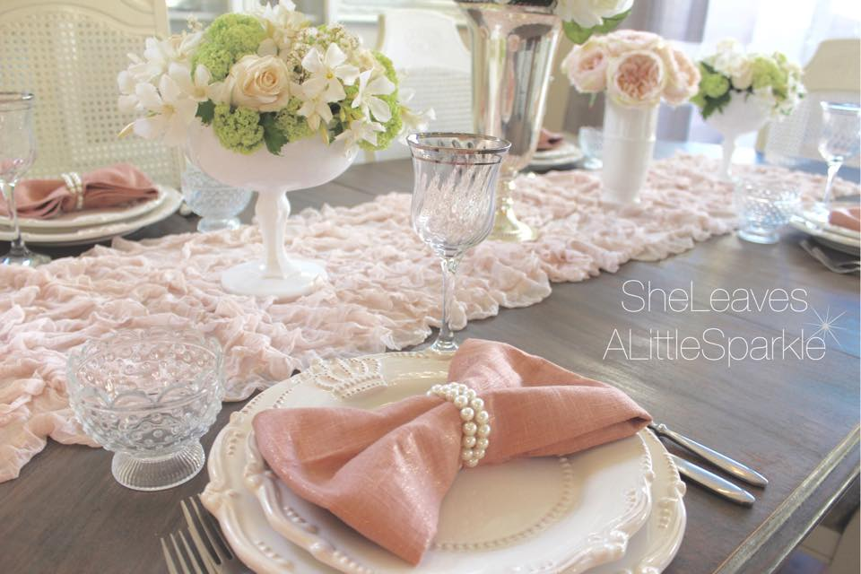Mothers Day tablescape brunch blush napkin cloth bow napkin fresh flowers audrey hepburn kate spade bows