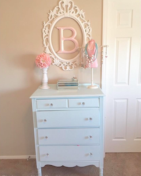 girls vintage aqua blue dresser shabby chic tween girls bedroom makeover