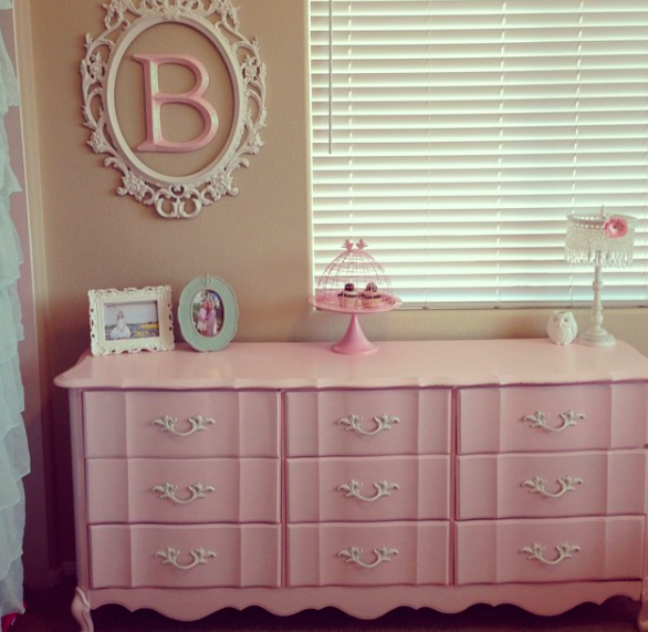 shabby chic pink french provincial dresser vintage girls tween teen bedroom makeover
