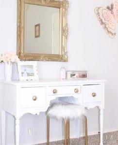 Tween S Bedroom Makeover White Gold Vanity Pottery Barn Kids