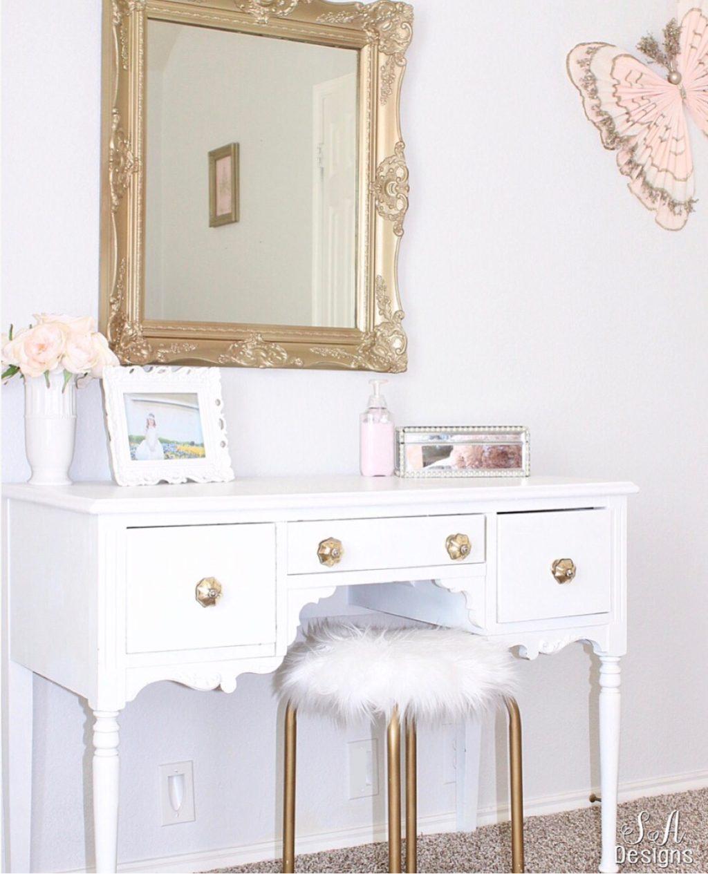 Image of: Tween Girls Bedroom Makeover White Gold Vanity Pottery Barn Kids Summer Adams