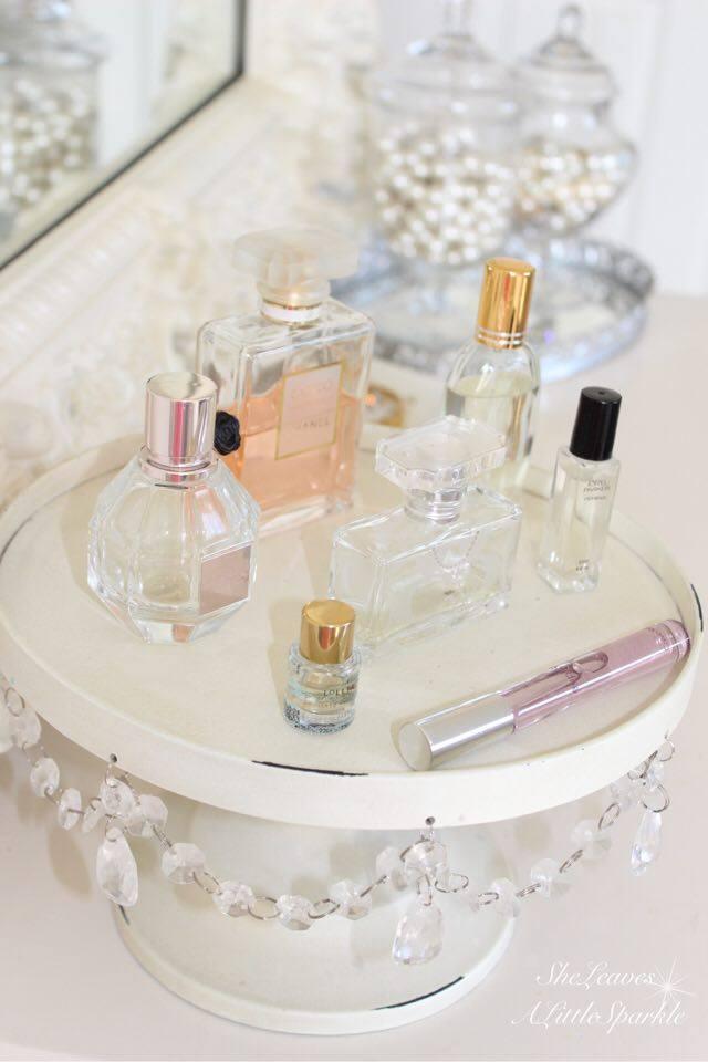 adding glam boudoir blog hop bedroom home decor she leaves a little sparkle crystal chandelier cake stand