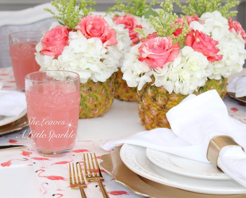 Kate spade strut your stuff flamingo placemats napkins summer tablescape pineapple floral flower arrangement
