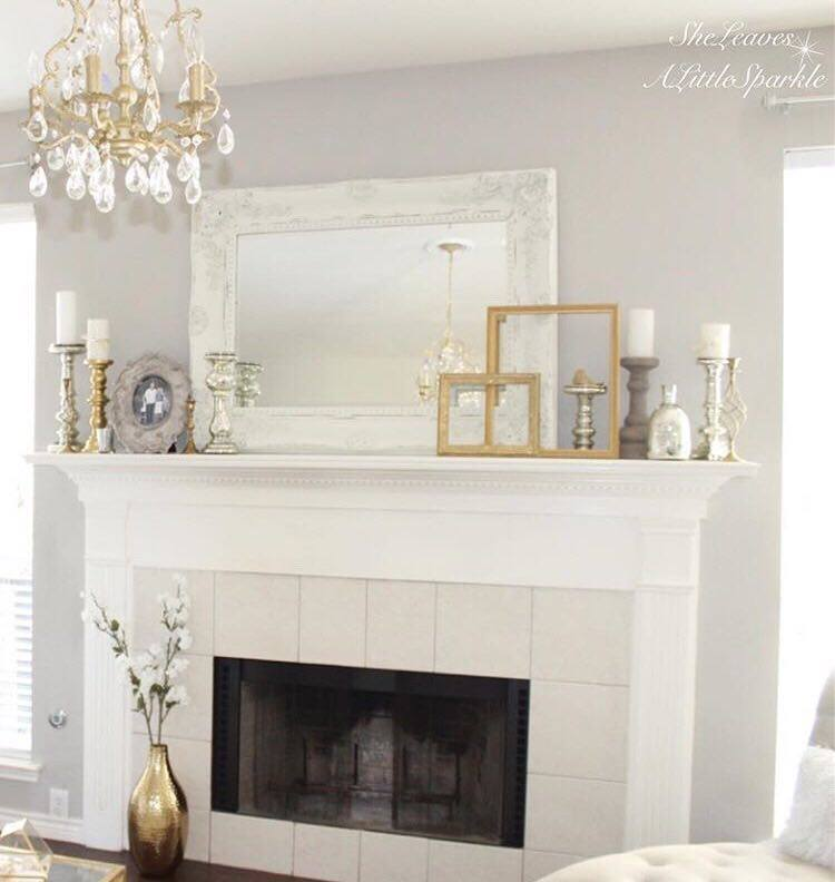 Living Room Tour part 1 one gold chandelier mantel layering