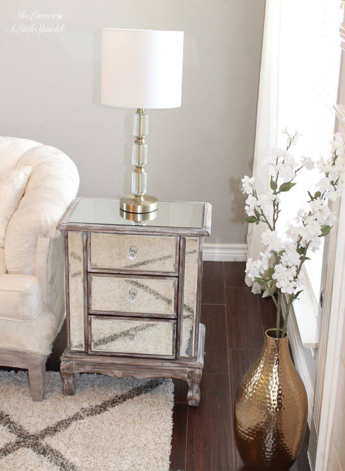living room tour part one 1 mirrored end table mirrored nightstand target lamp mixing metals