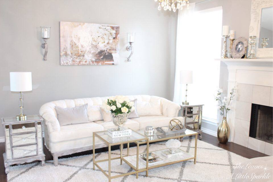 living room tour part 1 oliver gal canvas art serving roses tufted sofa ikea hack vittsjö nesting tables gold marble coffee table