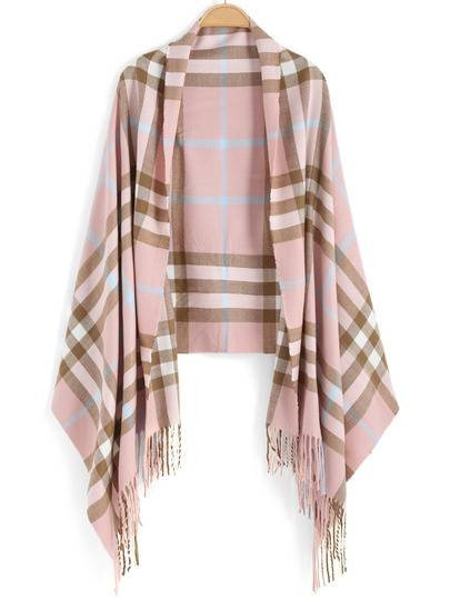fall accessories you'll love pink plaid blanket scarf pashmina cashmere