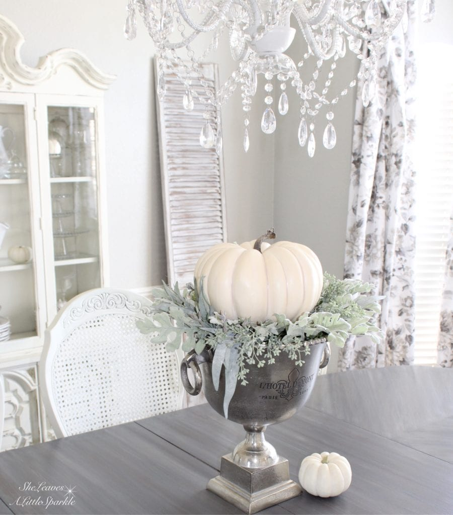harvest haven fall tour 2016 home decor fall blog hop white pumpkin on lambs ear vintage champagne ice bucket fall thanksgiving centerpiece tablescape