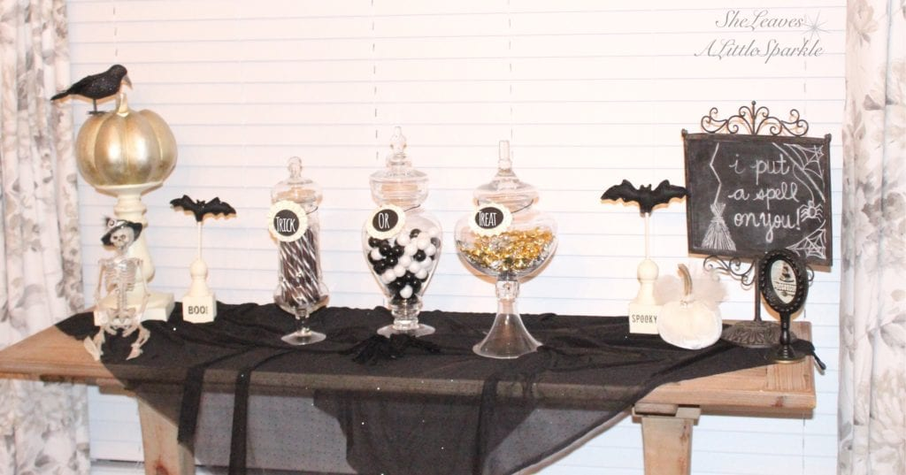 spooky glam halloween table black and white gold glam chic candy bar buffet