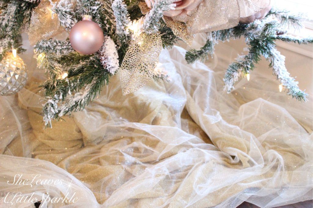 Holiday Living Room Tour Bloggers Home Tour Blush Pink Christmas Blush Gold Glam Christmas Tulle Sparkly Tree Skirt Summer Adams