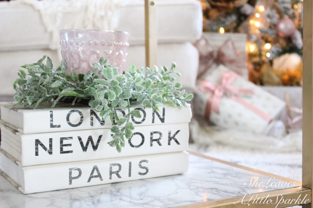 holiday living room tour 2016 blogger home christmas tour blush pink christmas gold glam christmas blush ornaments wrapping paper