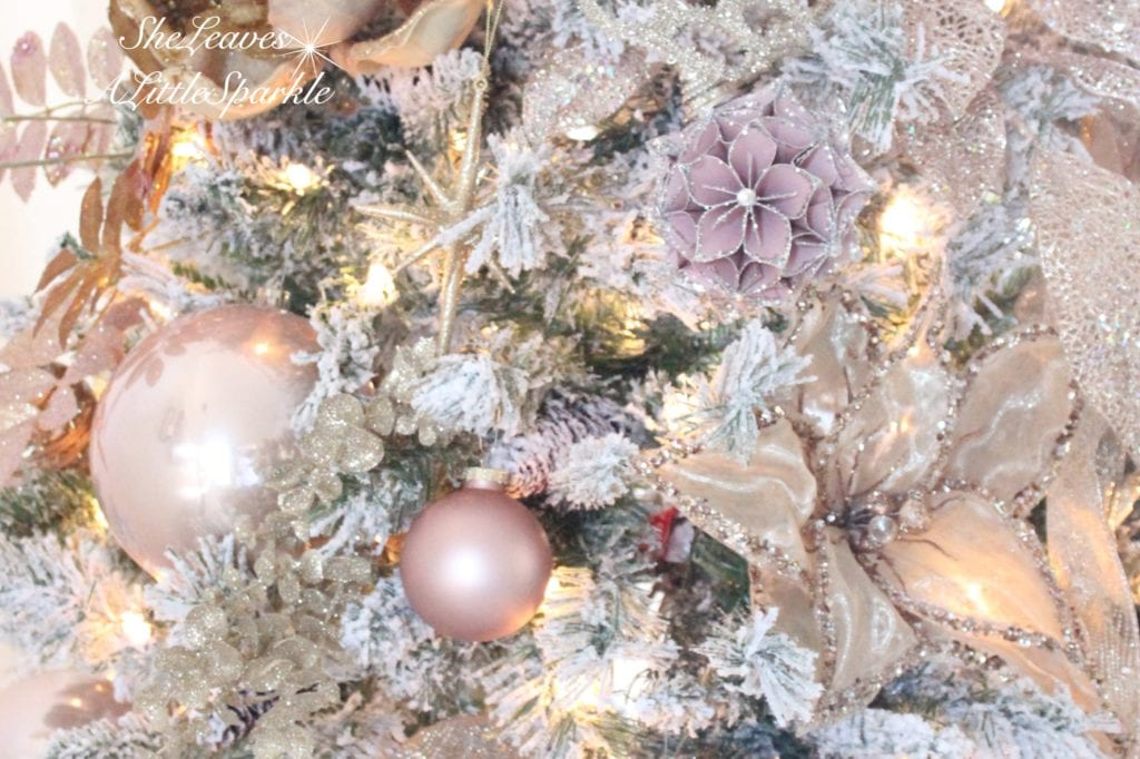 holiday living room tour blush gold flocked christmas tree blush wrapping paper pink christmas blush ornaments summer adams