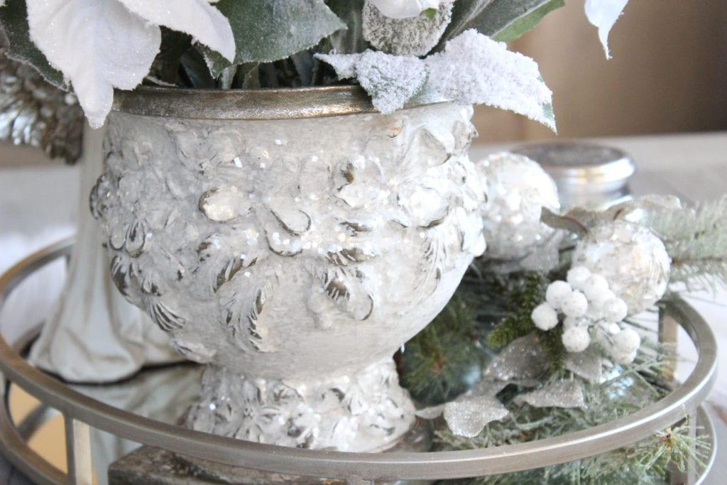 Styling a Christmas coffee table white sparkly frosted Christmas planter urn pot