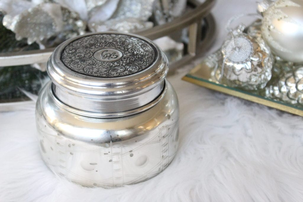 Styling a Christmas coffee table mercury glass candle anthropology candle volcano candle