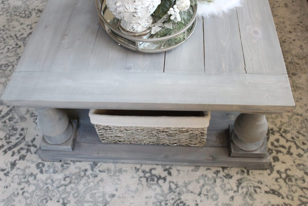 Styling a Christmas coffee table large basket storage