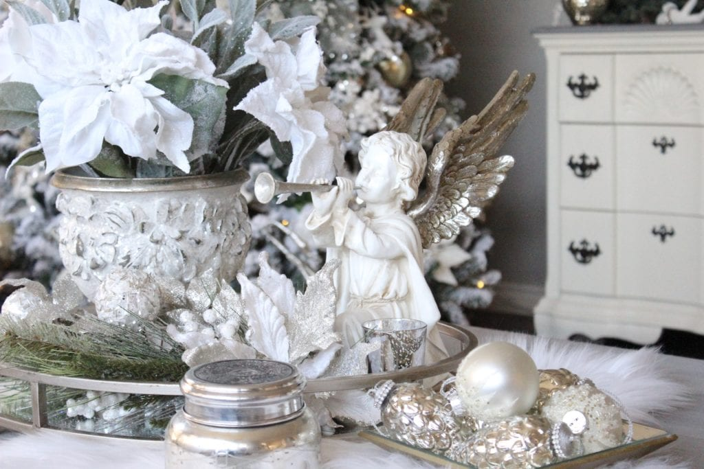 Styling a coffee Christmas table Restoration Hardware baluster table white f tiling a coffee Christmas table Restoration Hardware baluster table white fur Angel glam sparkly