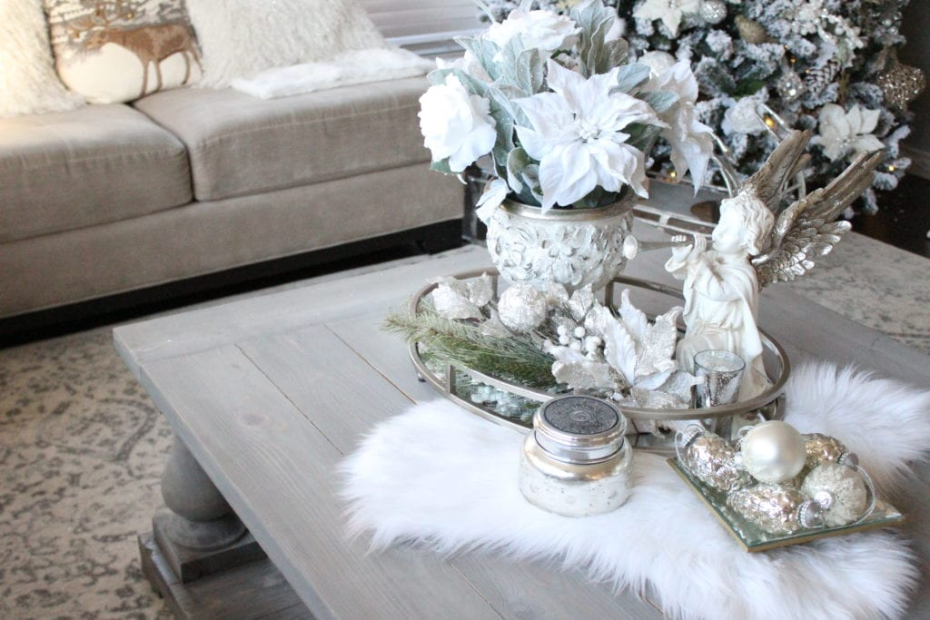 Styling a Christmas coffee table white winter wonderland