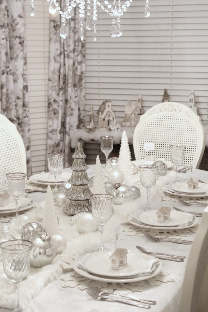 adding glam to christmas decor winter wonderland tablescape