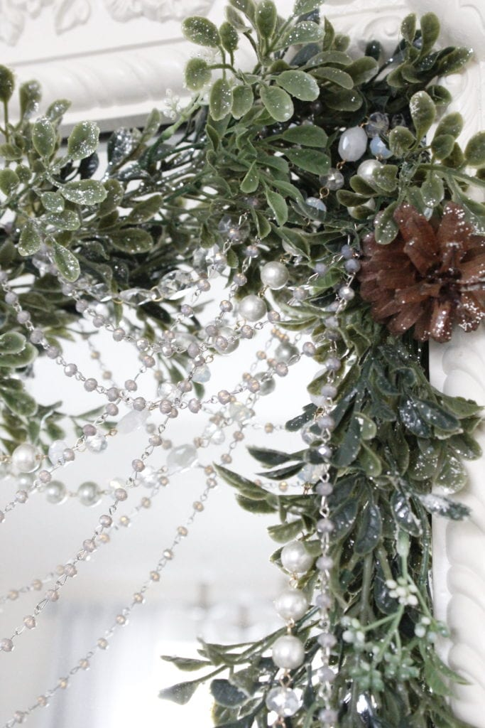 Christmas Bedroom Decor Greenery Holiday Christmas garland swag with bling and beads