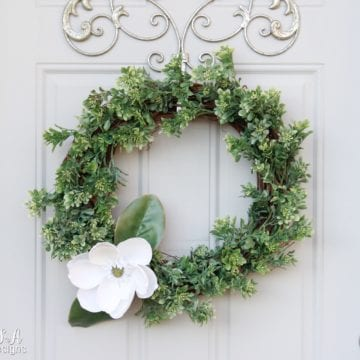 How To Make A Faux Boxwood & Magnolia Wreath