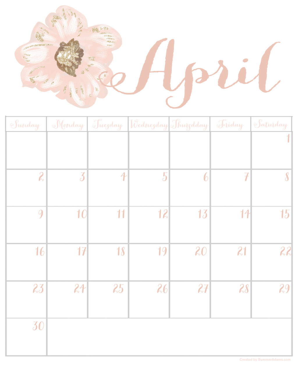 graphic relating to Printable Calendar April referred to as Totally free April 2017 Printable Calendar - Summer season Adams