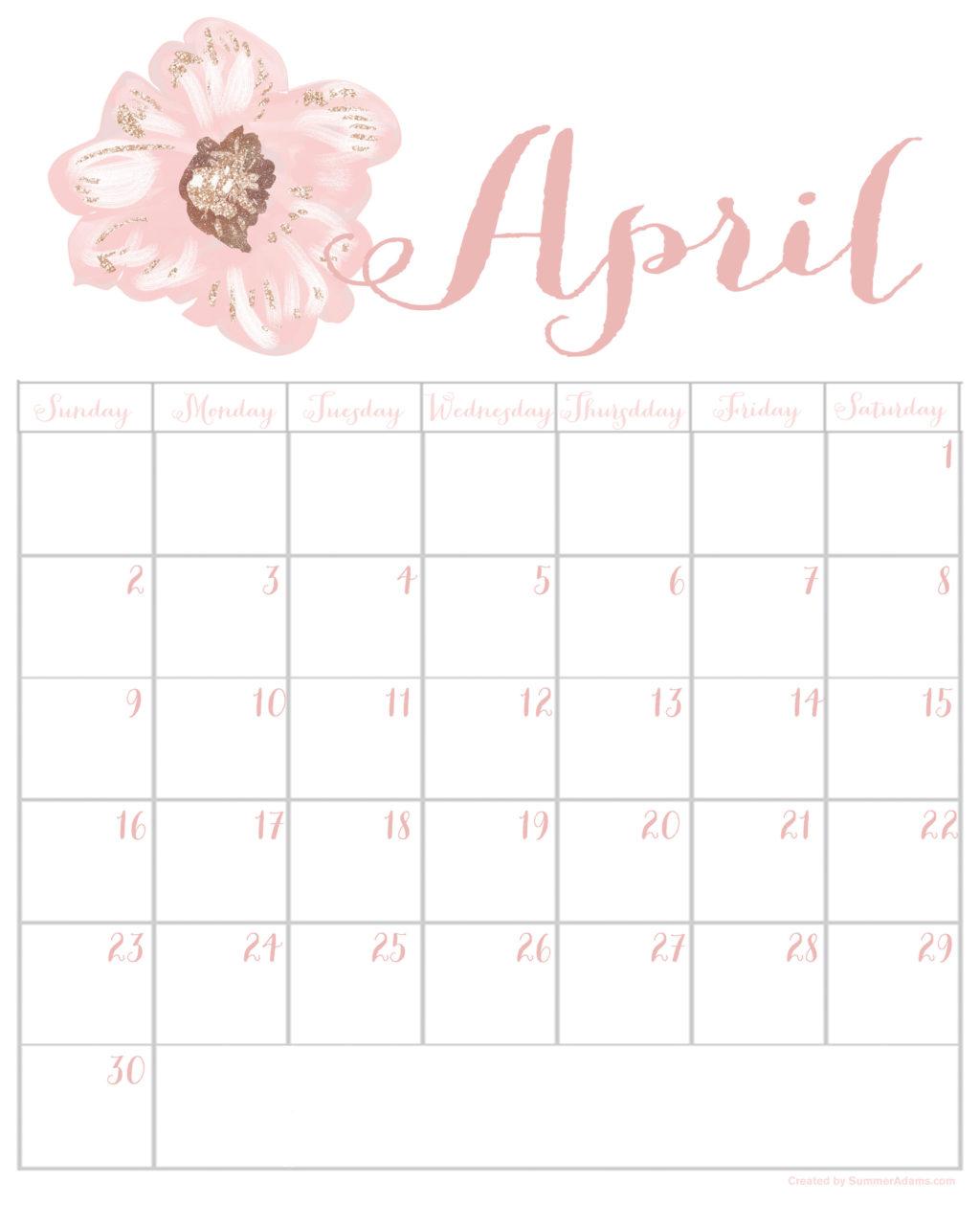 printable calendar: Free April 2017 Printable Calendar