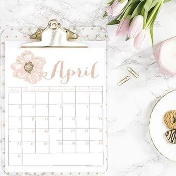 Free April 2017 Printable Calendar