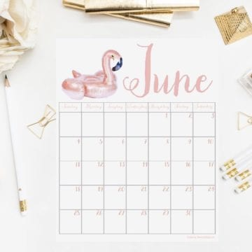 June 2017 Printable Calendar, Digital Graphic & Tech Wallpaper