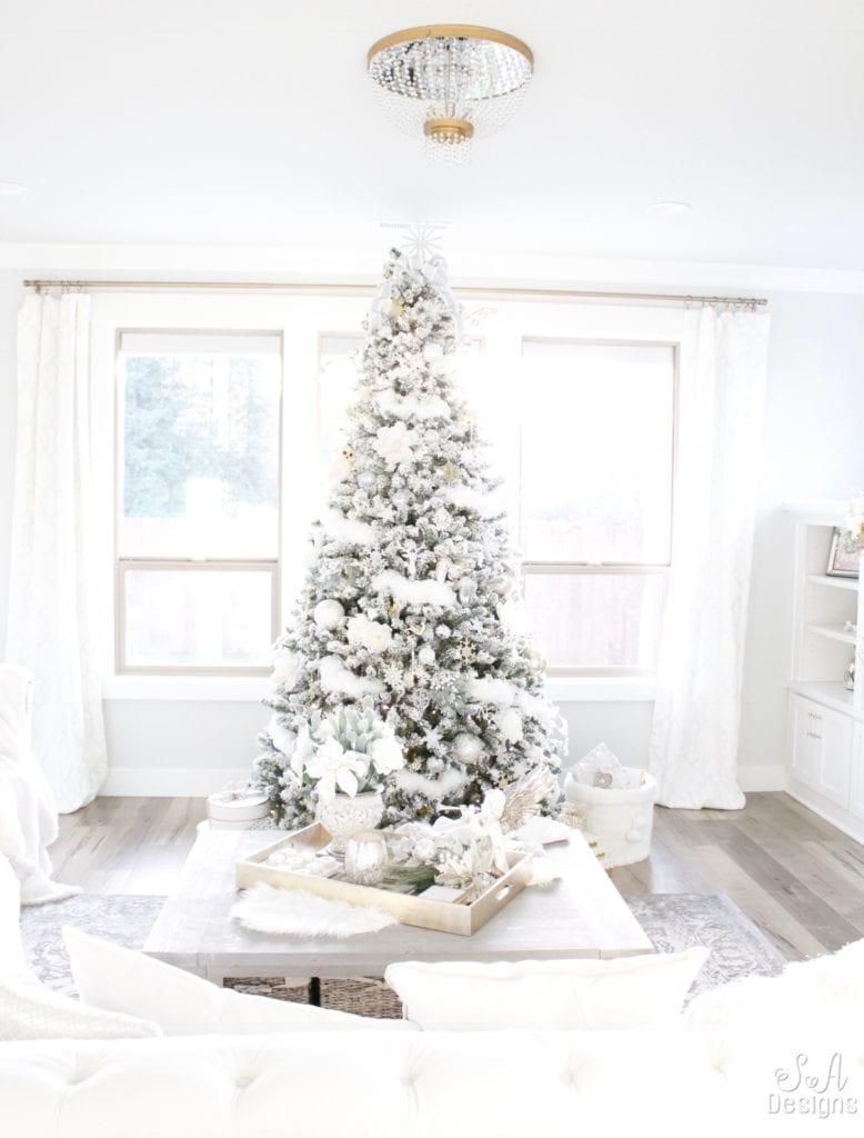 winter wonderland flocked christmas tree mantel