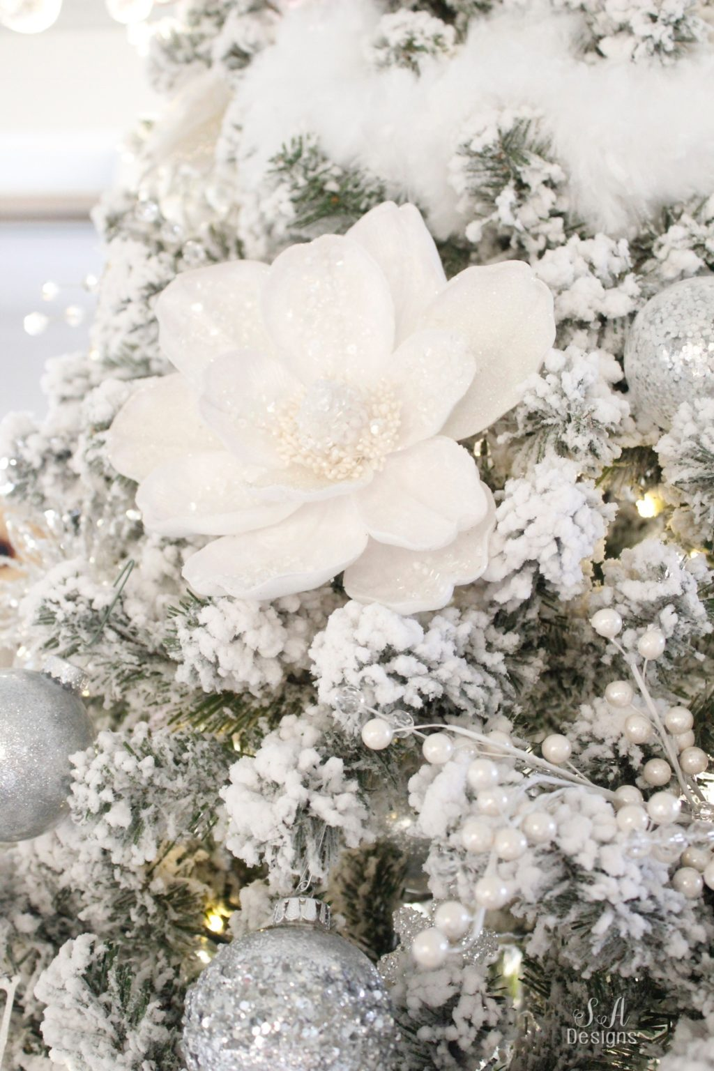 Silver Pre Lit Christmas Tree