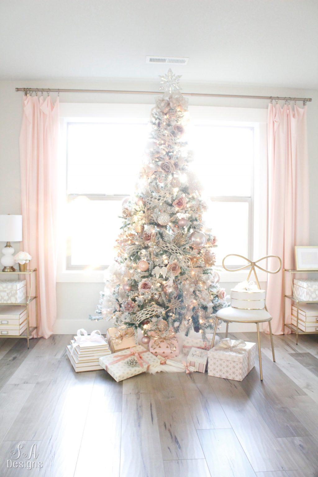 My blush pink flocked christmas tree 34 summer adams - Blush pink christmas decorations ...