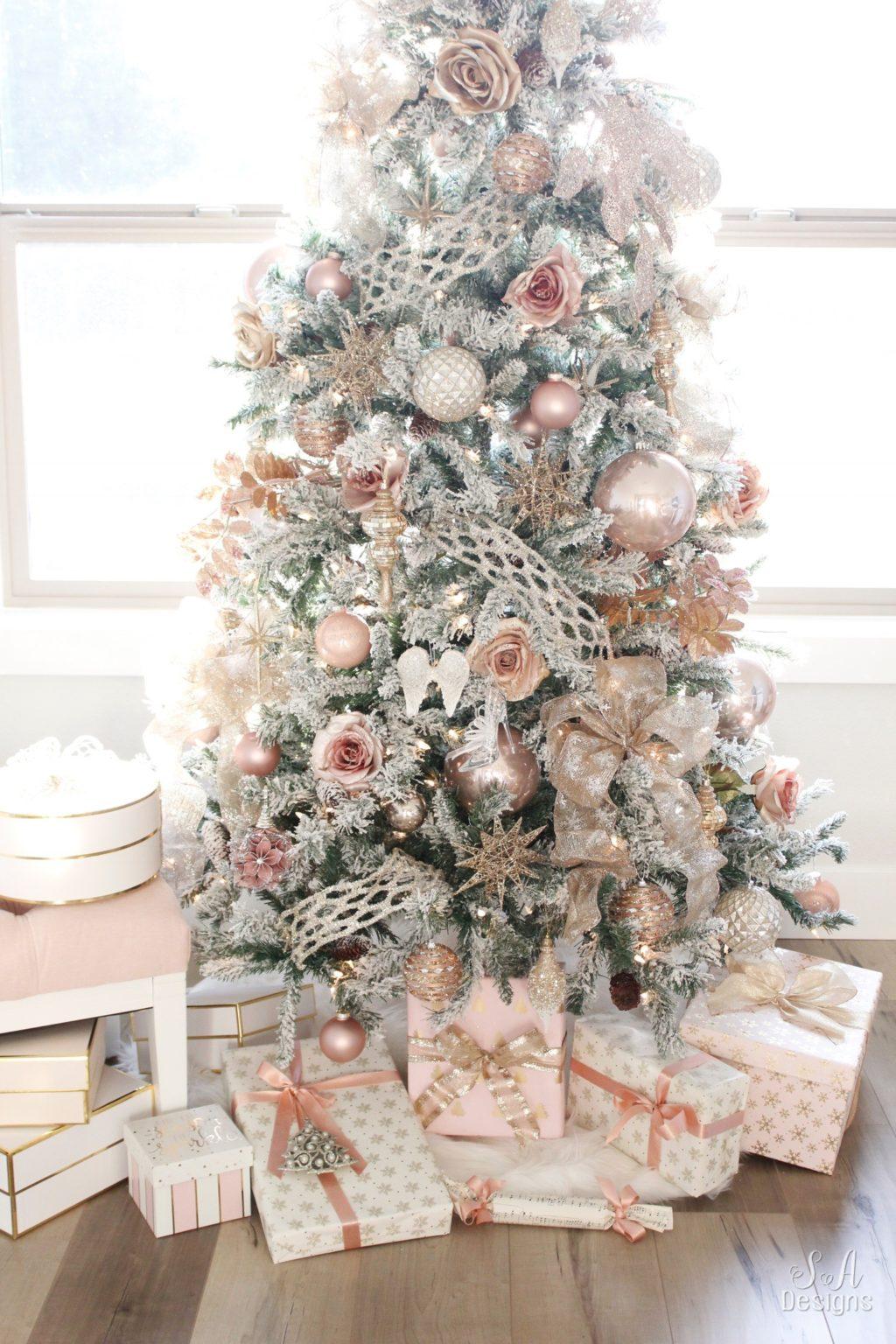 My Blush Pink Flocked Christmas Tree 6 Summer Adams