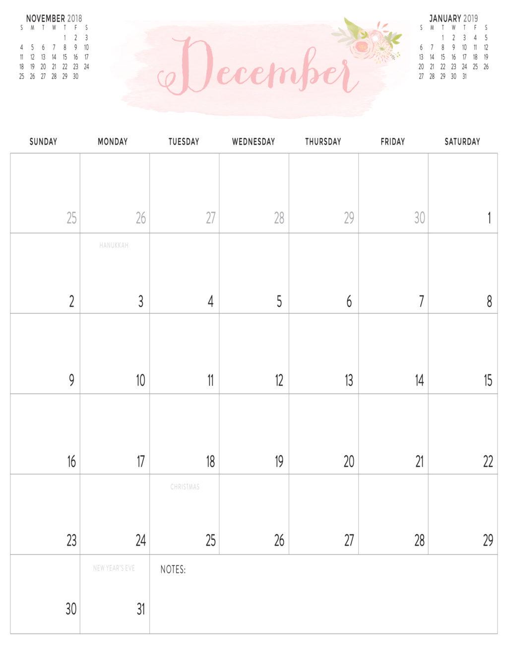2018 blush calendar portrait landscape