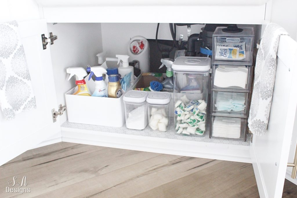 How To Beautifully Organize Under Your Kitchen Sink - Summer Adams I Organizing Under Kitchen Sink on creative bathroom storage ideas under the sink, organizing bathroom, organize under your sink, organizing under bed, tension rod under sink, coffee can for bags under sink,