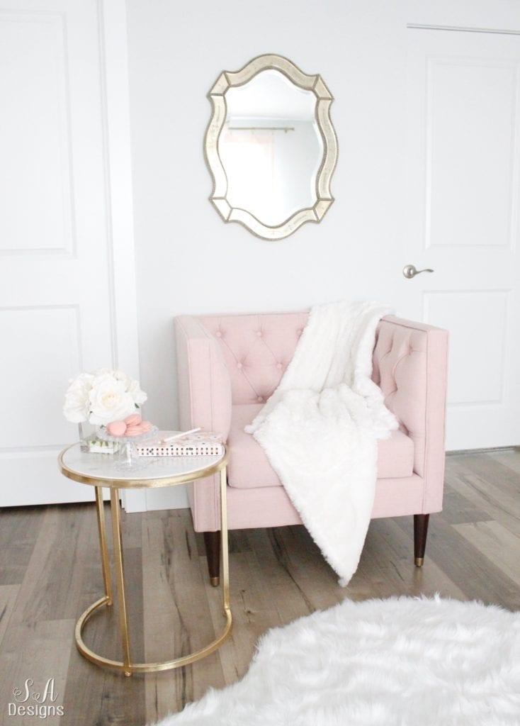 nate berkus target blush tufted sofa club chair, mid century modern style