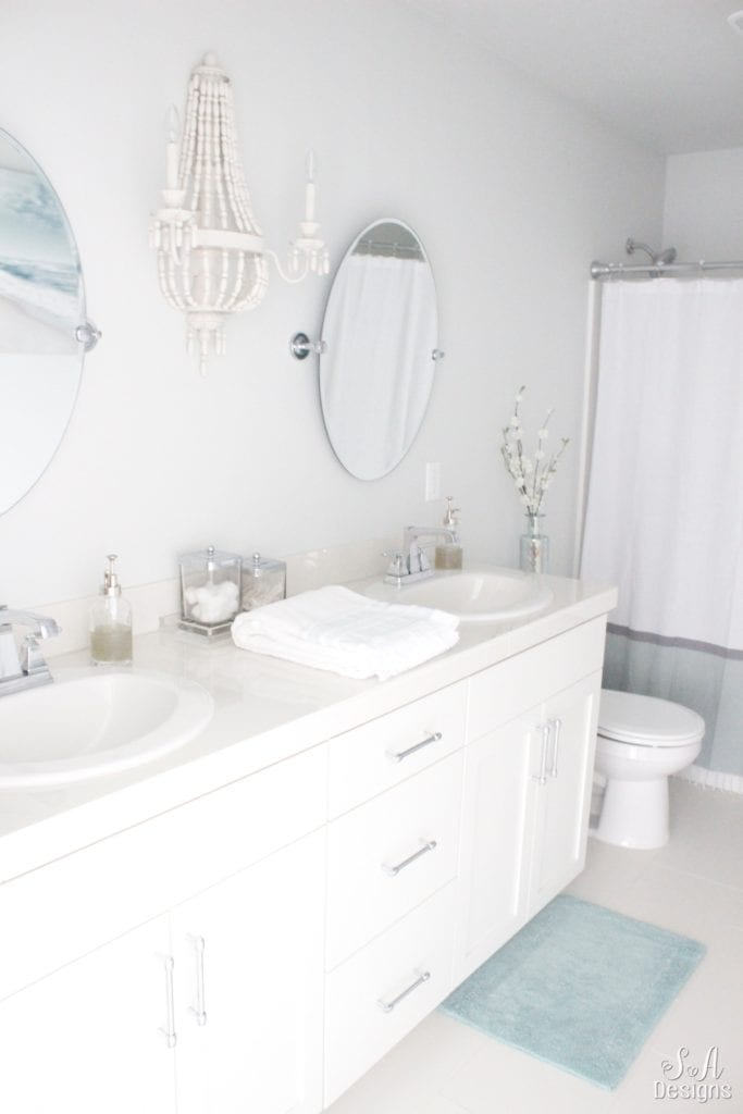 kids coastal chic bathroom, white bathroom coastal decor design