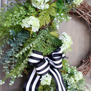 Lovely Green Asymmetrical Wreath & My Front Porch