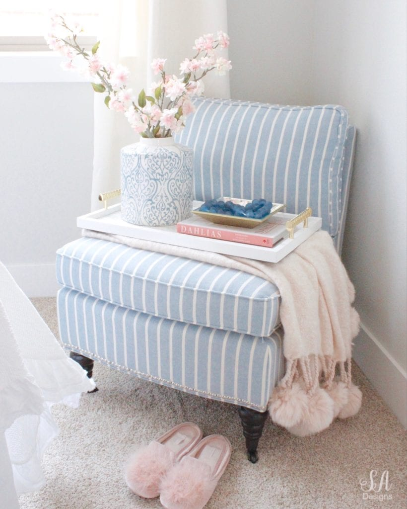 nordstrom at home blush pink pom pom throw blanket, pink pom pom blush slippers, blue a and b home ceramic ginger jar, cherry blossoms, georgianna lane books a parisian moment books