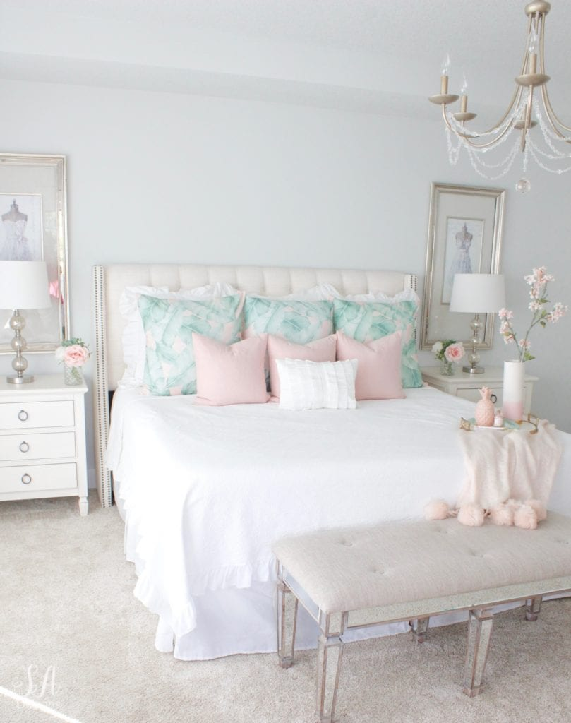 pottery barn teen euro shams blush palm print, summer master bedroom update